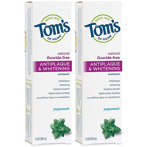 Tom's of Maine Fluoride-Free Antiplaque & Whitening Natural Toothpaste (2 Pack)