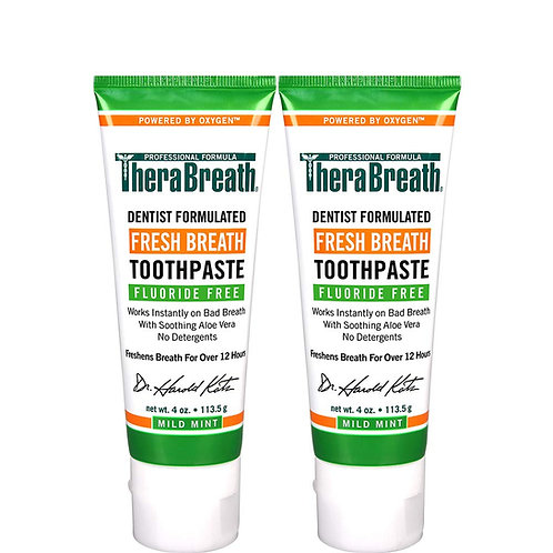 TheraBreath Fresh Breath Toothpaste Fluoride-Free Formula, Mild Mint (2 Pack)