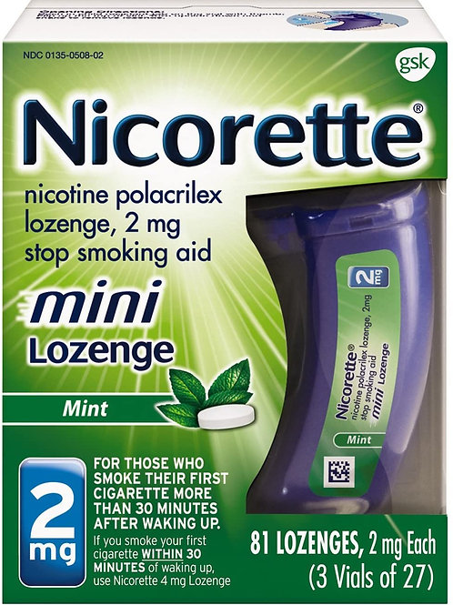 Nicorette 2mg Mini Nicotine Lozenges to Quit Smoking, Mint Flavored (81 Count)