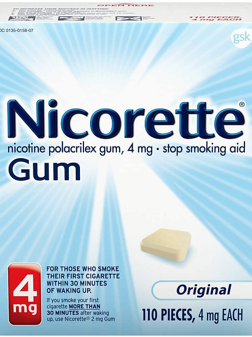 Nicorette 4mg Nicotine Gum Stop Smoking Aid, Unflavored (110 Count)