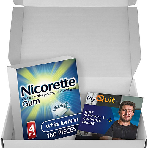 Nicorette 4mg Nicotine Gum with Quit Support System, White Ice Mint (161 Count)
