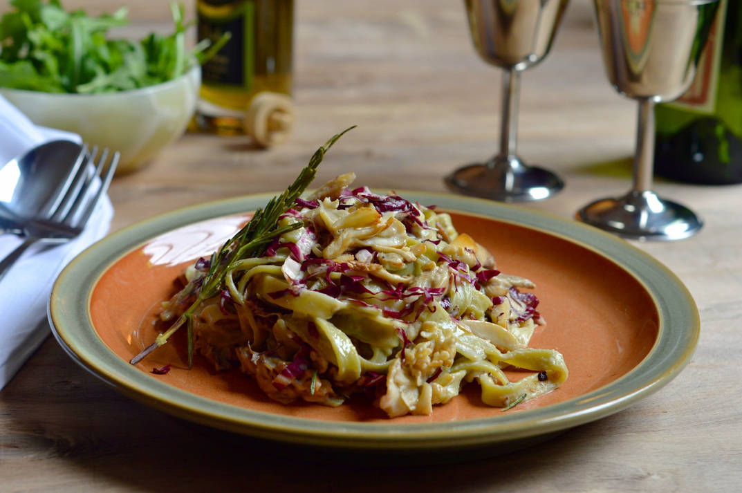 Rosemary, Radicchio and Mixed Mushroom Cashew Cream Tagliatelle