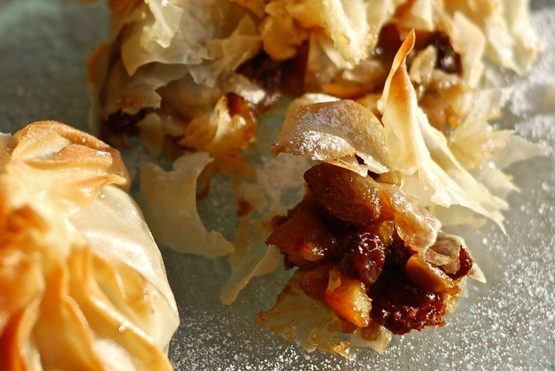 Festive Filo Apple, Almond Parcels with Apricot Brandy Coulis