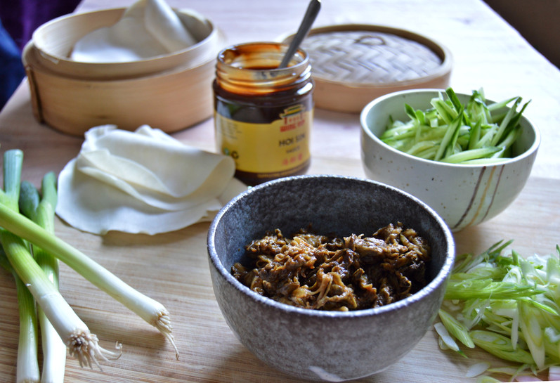 Chinese Shredded No-Duck and Cucumber Pancakes