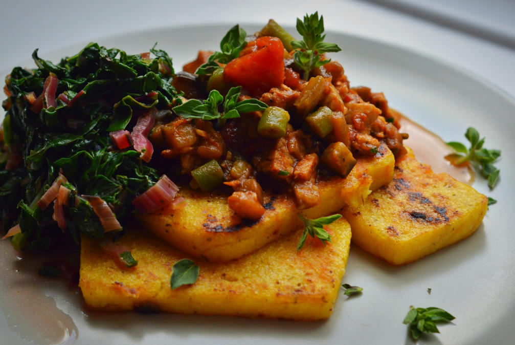Mama's Totally Inauthentic Tempeh Bolognaise and Crispy Golden Polenta