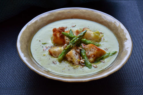 Asparagus and Celery Soup with Zesty Croutons