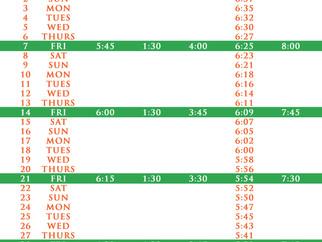Salah Timetable - October 2016