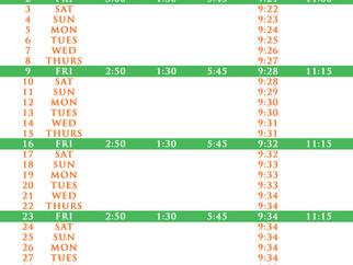 Salah Timetable - June 2017