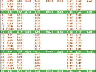 Salah Timetable - February 2021