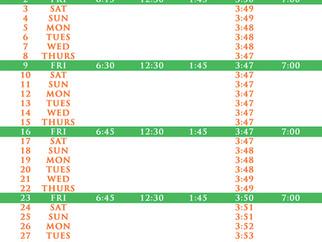 Salah Timetable - January 2017