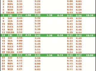 Salah Timetable - August 2020