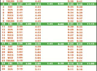 Salah Timetable - July 2020