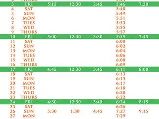 Salah Timetable - March 2017