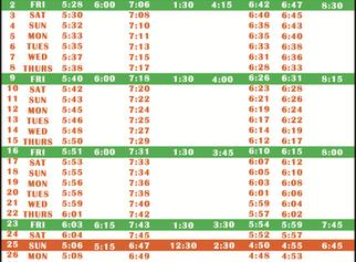 Salah Timetable - October 2020