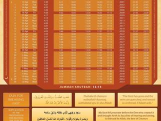 Ramadhan Prayer Timetable 2021