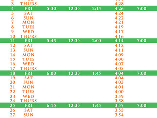 Salah Timetable - November 2016
