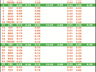 Salah Timetable - December 2020