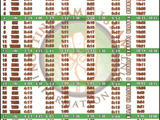 Salah Timetable - August 2021