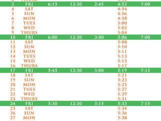 Salah Timetable - February 2017
