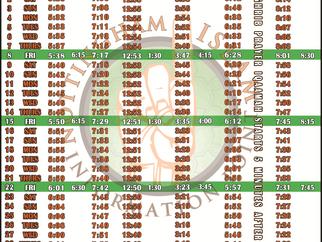 Salah Timetable - October 2021