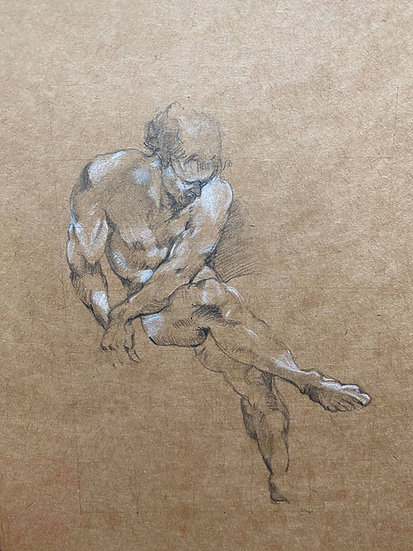 """Seated nude "" By Nathaniel Newell"