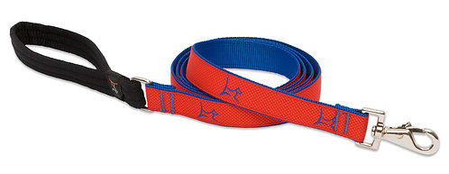 LupinePet Club Derby Red  Padded Handle Leash (6 Foot)