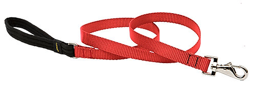 Lupine Pet Basics Red Padded Handle Dog Leash (6 Foot)