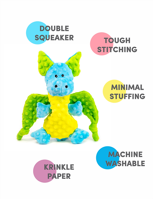 Barkbutler's Pookie the Dragon - Non- Toxic Plush Dog Toy