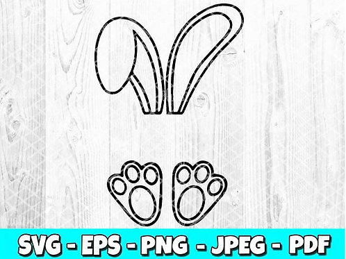 Easter Bunny Ears & Feet SVG, EPS, PNG, DXF, JPEG & PDF file