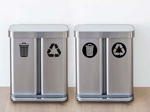 Garbage & Recycle Decal Set | Kitchen Decal | Home Décor Decal
