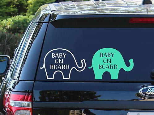 Baby On Board Car Decal | Baby Shower Gift | Baby Elephant | New Mom