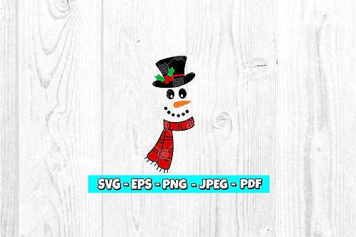 Snowman With Scarf & Hat SVG