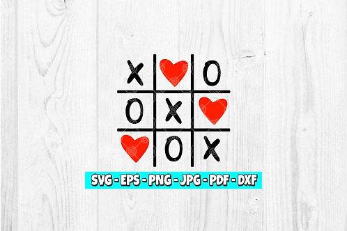 XOXO Tic Tac Toe svg   Valentine svg   Hugs svg   Kisses svg   Valentine's Day