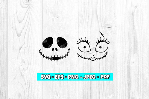 Jack & Sally Skellington Face SVG