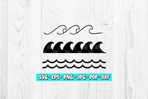 Waves SVG | Simple Waves svg | Wave Clipart | Nautical svg | Ocean svg