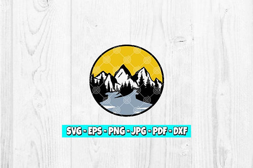 Mountain and River SVG | Mountain svg | Sunset svg | Outdoor svg