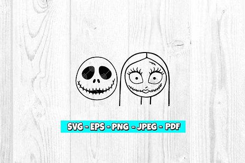 Jack & Sally Skellington Heads SVG