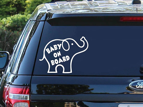 Baby On Board Elephant Car Decal | Baby Shower Gift | Elephant Decal