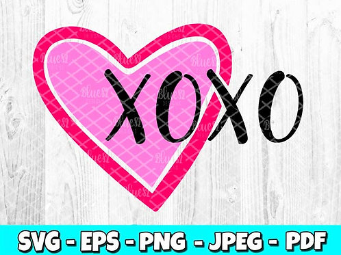 XOXO Heart | Valentines Day SVG, EPS, PNG, JPEG, PDF