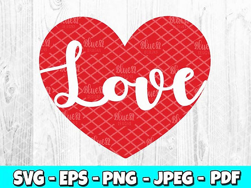 Love Heart | Valentines Day SVG, EPS, PNG, JPEG, PDF