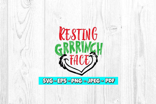 Resting Grrrinch Face SVG (Style 2)