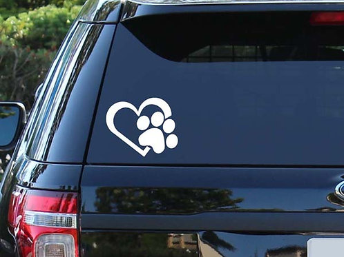 Heart & Paw Decal