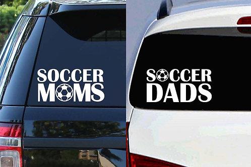 Soccer Moms & Soccer Dads  (Car Decal)