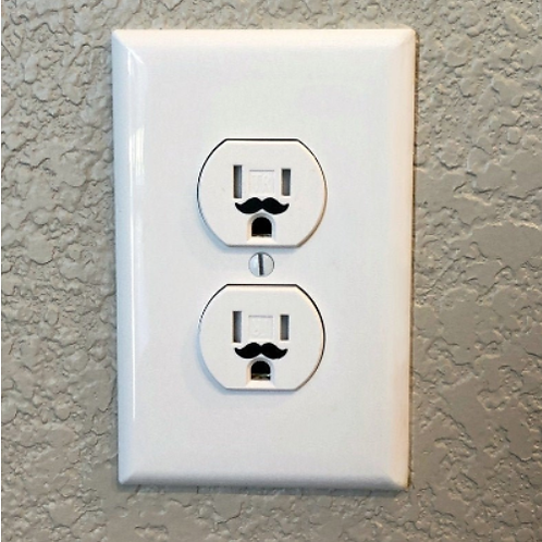 24 Mustache Outlet Decals (Option #2) | Funny Outlet | Adult Humor | Home Decor