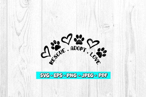 Rescue Adopt Love SVG
