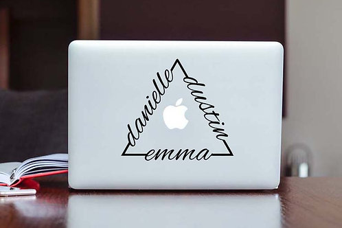 Triangle With Names | Custom Decal | Name Decal