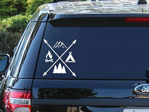 Camp Life X Car Decal | Mountains Decal | Arrows | Camping Decal