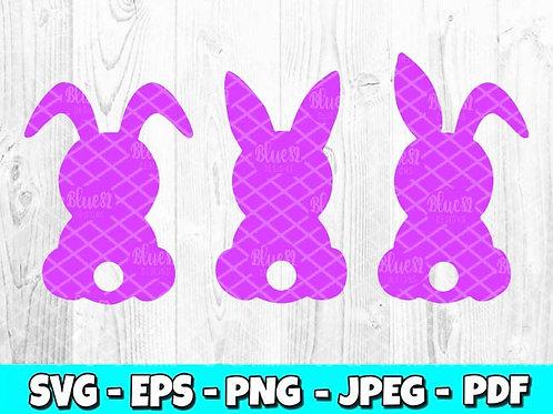 3 Easter Bunnies Back & Tail SVG, EPS, PNG, DXF, JPEG & PDF file