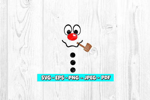 Snowman Face With Pipe SVG