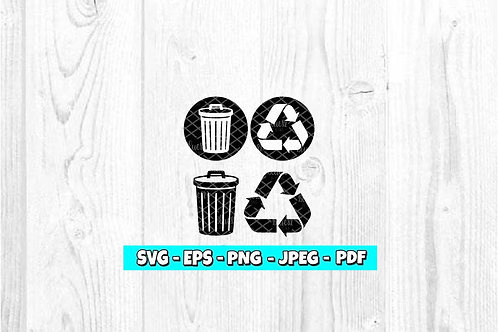 Garbage and Recycle Set SVG (Digital Only)